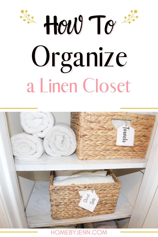 linen closet with baskets and towels via @homebyjenn