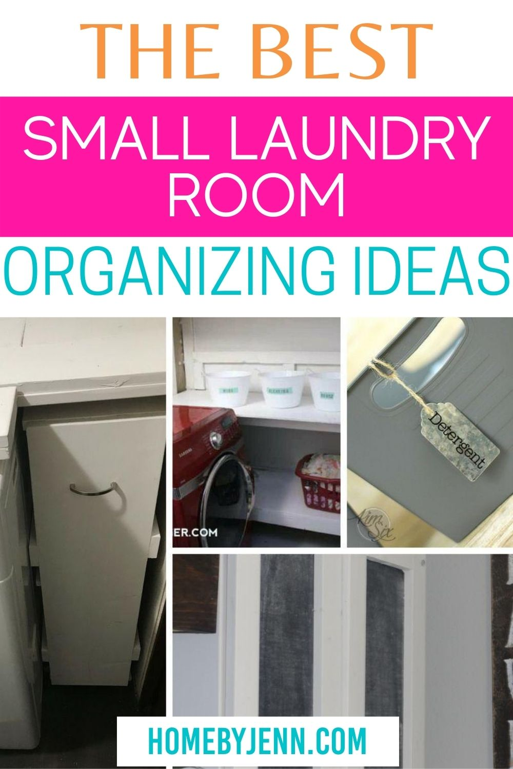Get inspired to organize your laundry room with these laundry room organization ideas. #laundryroom #laundry #organizing #organize #organizingideas via @homebyjenn