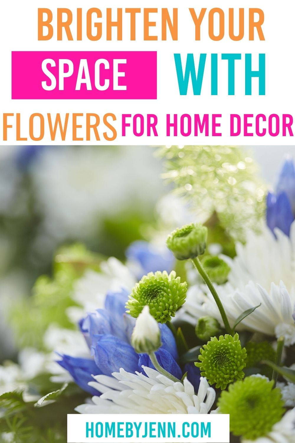 Brighten your home and enjoy some outdoors indoors with flowers for home decor. Adding flowers will add so much to any room. #homedecor #flowers #vaseofflowers via @homebyjenn