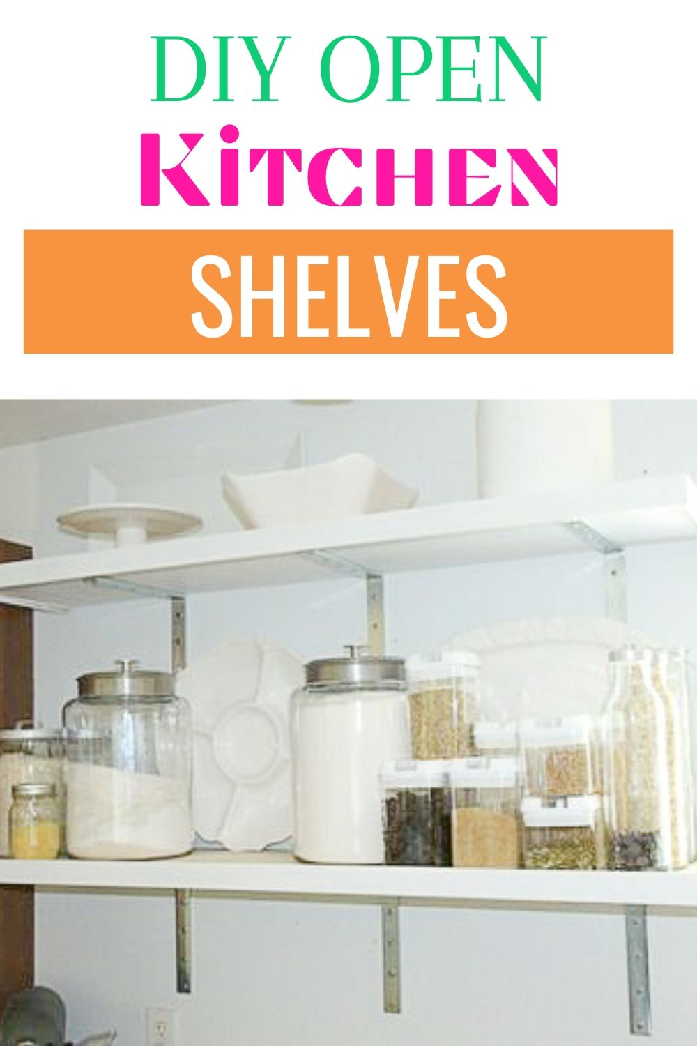 Build these simple DIY open kitchen shelves with just a few supplies and a little bit of time. They're simple to install and add storage to your kitchen #diy #organize #weekendproject #woodworking #openkitchenshelves via @homebyjenn