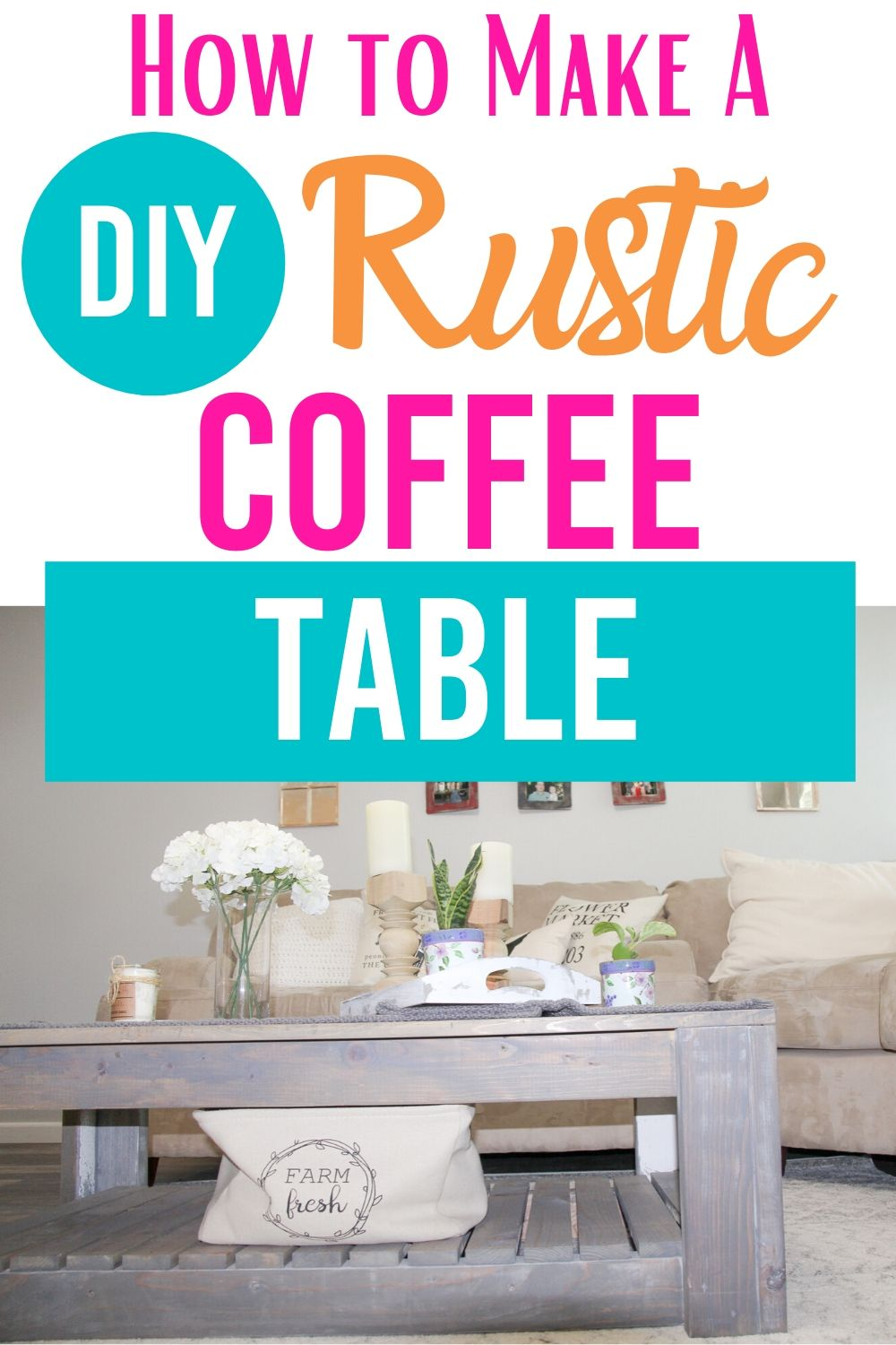 Build your own coffee table from reclaimed wood. Get a complete tutorial on DIY rustic coffee table with free plans #woodworking #diy #diyproject #coffeetable #farmhouse #rustic #rusticcoffeetable via @homebyjenn
