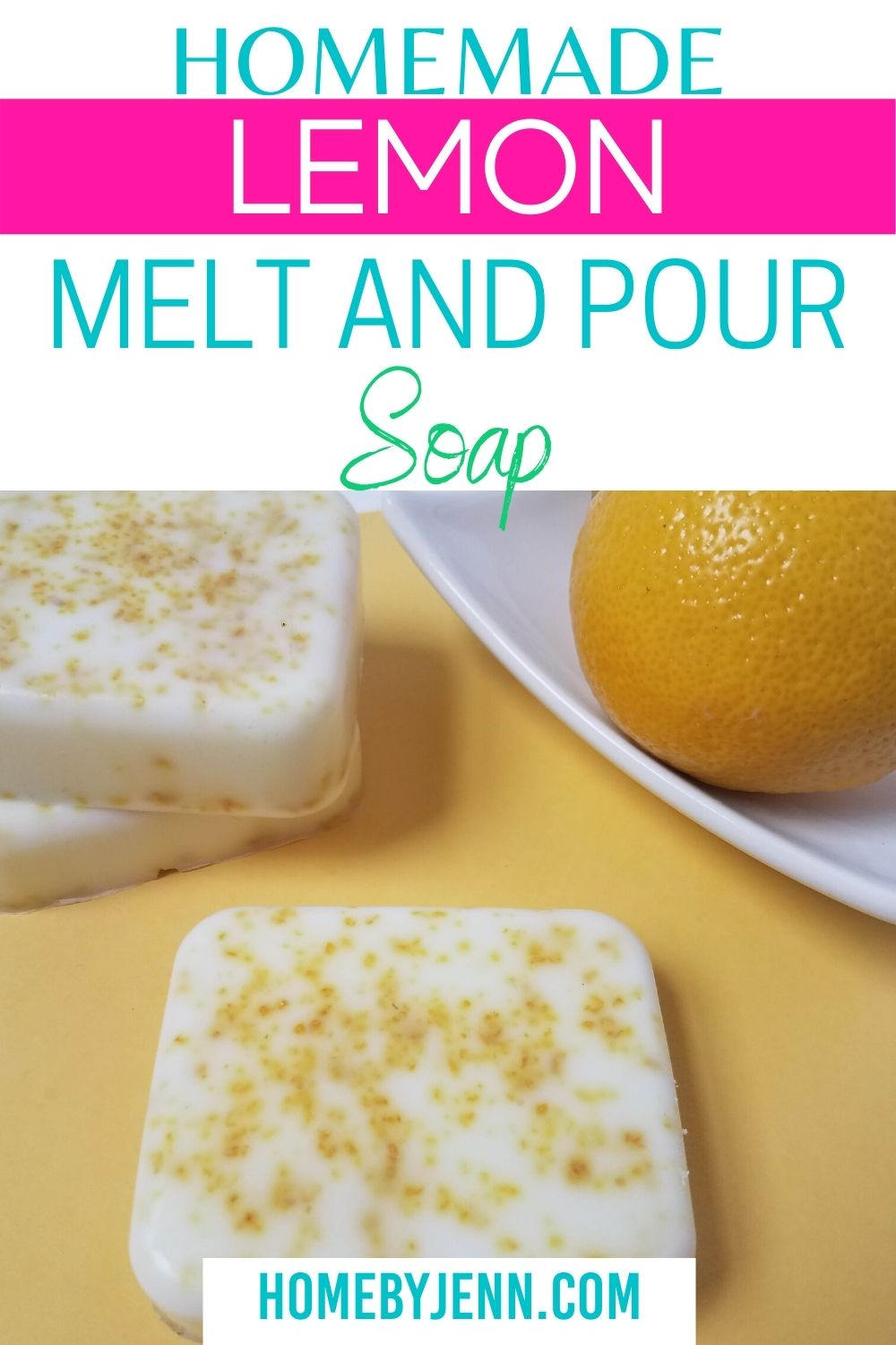 This melt and pour soap is super simple and easy to do! With just a few ingredients, you can make this for your home as well. Who doesn't love the scent of homemade lemon soap? #DIY #homemade #meltandpoursoap #lemon via @homebyjenn