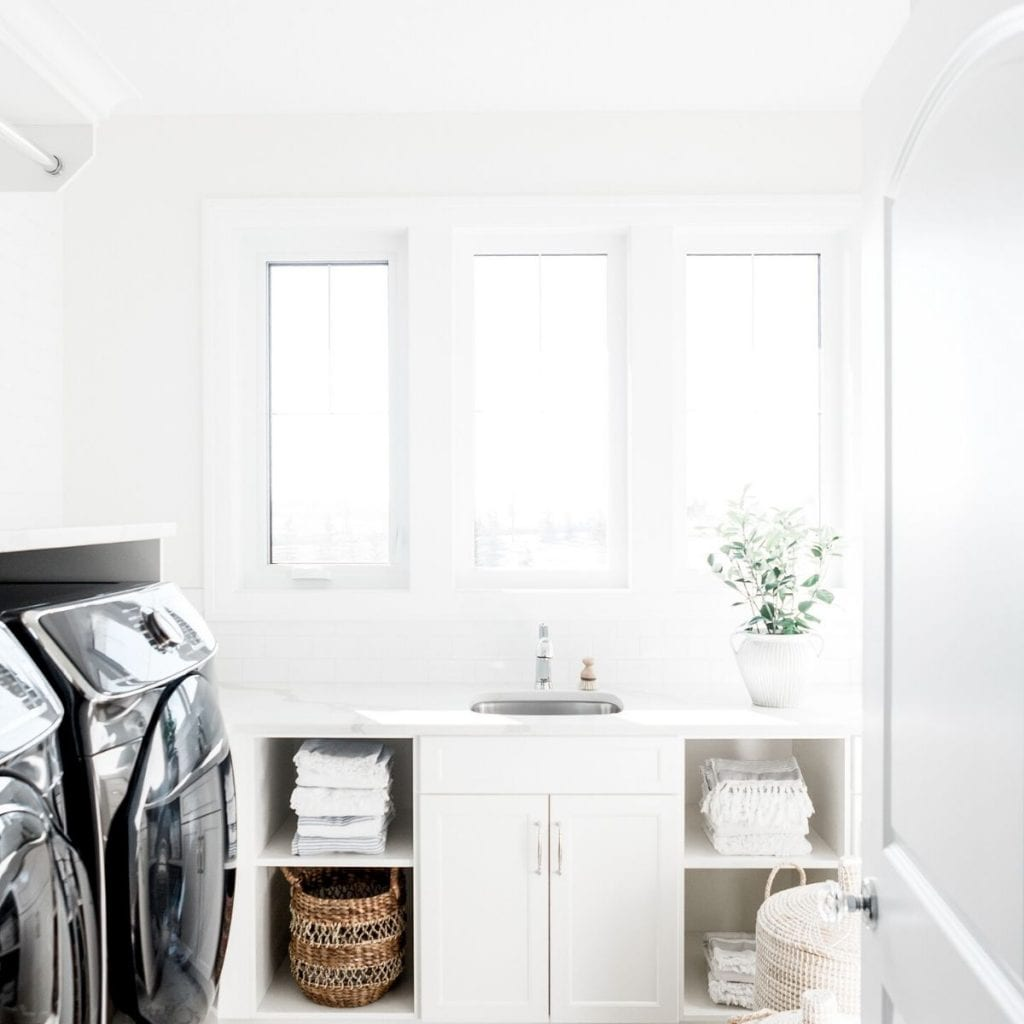 white bright laundry room.