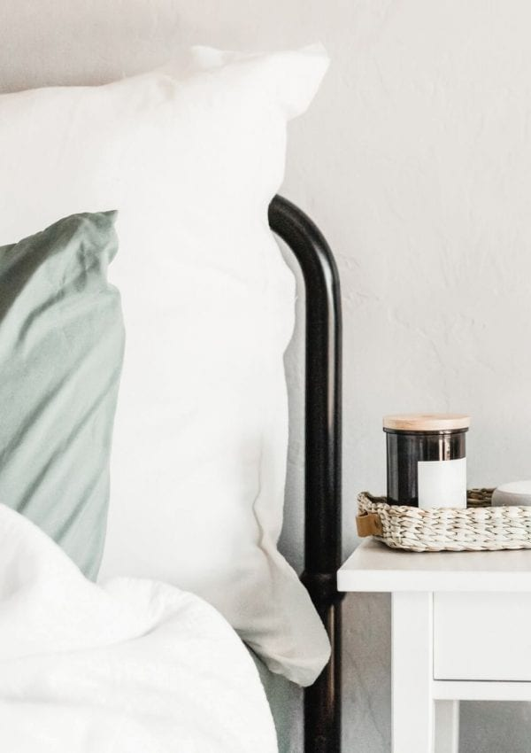 keep your bedroom fresh with a candle on the night stand (shown in photo)