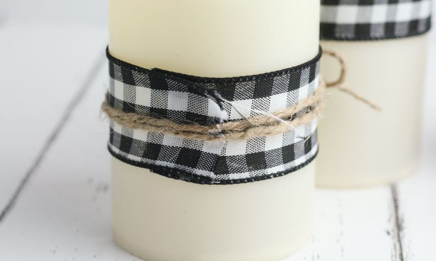twine secured to ribbon with hot glue