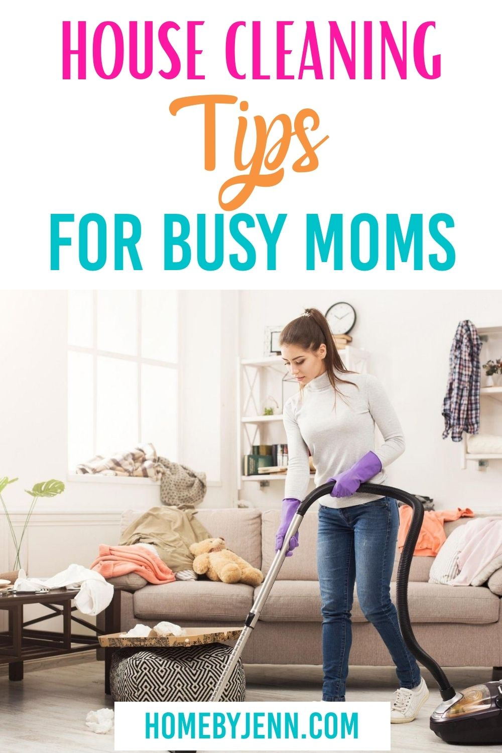 Keeping a clean house may seem impossible. However, with these house cleaning tips for busy moms, you'll be on your way to a clean home in no time. #cleaningtipsformoms #cleaninghacks #keepingyourhomeclean via @homebyjenn