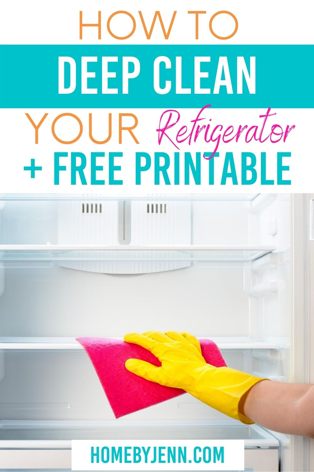 Learn how to deep clean your refrigerator. Check out these tips and tricks to help remove mold, smells, and how to clean refrigerator coils. When you clean your fridge you prolong the life of your fridge and food. via @homebyjenn