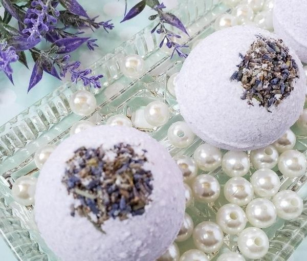 homemade lavender bath bombs on a tray