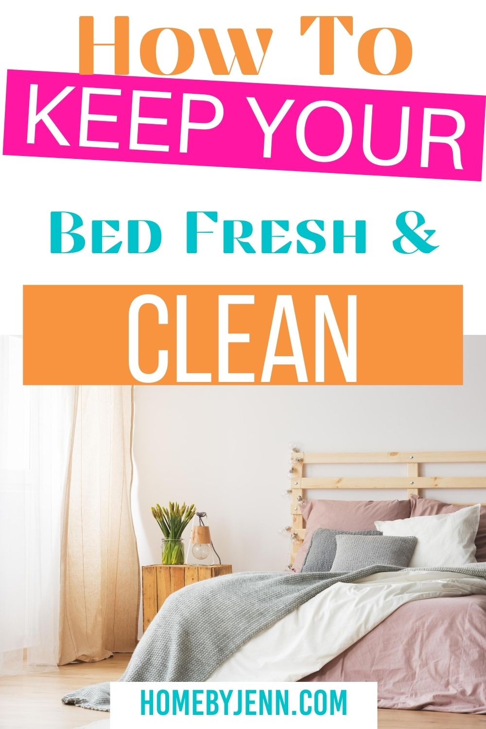 Keeping your bed smelling fresh and clean is important for a good night's sleep. Learn how to keep your bed fresh and clean with these simple tips. via @homebyjenn