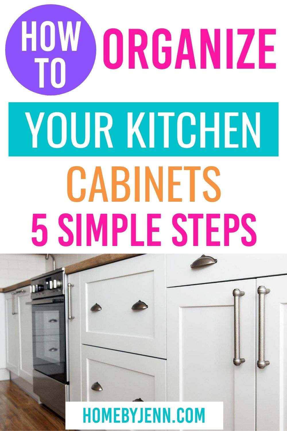 Clean and organized your kitchen cupboards by following these 5 simple steps. These tips will help you keep your kitchen clean and organized. #cleaningtips #organizingtips #cleankitchen #cleanhome #cleaning #organizing via @homebyjenn