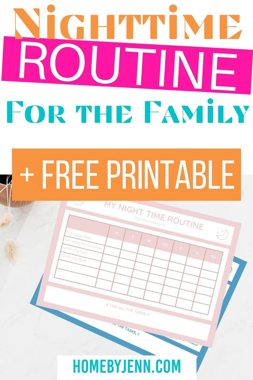 Setting up a night time routine is key for healthy sleep habits. Learn how to set up a nighttime routine that will be helpful for the whole family. Download the free night time routine checklist too! via @homebyjenn