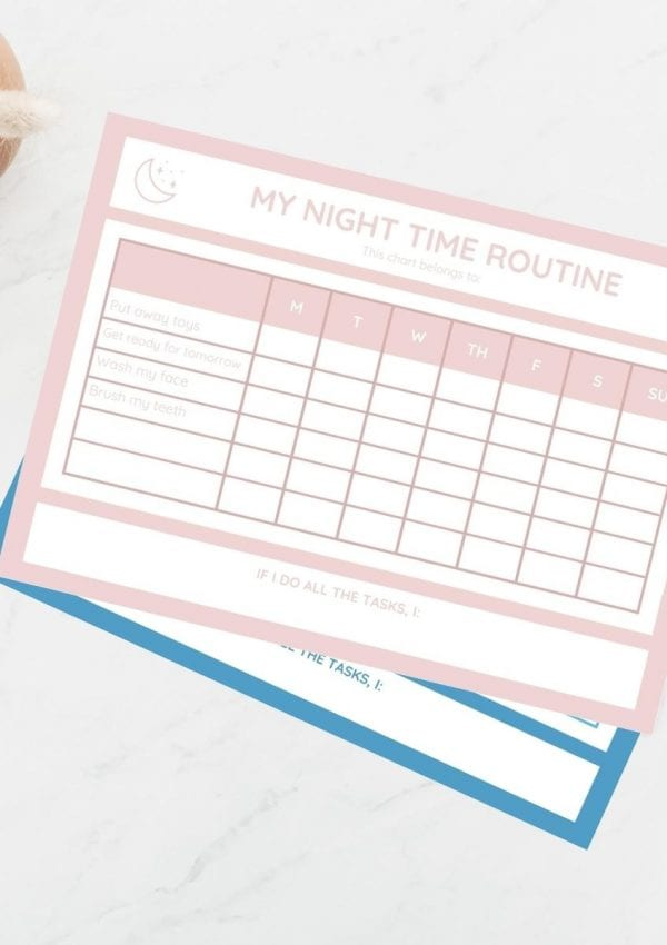 night time routine chart on a table