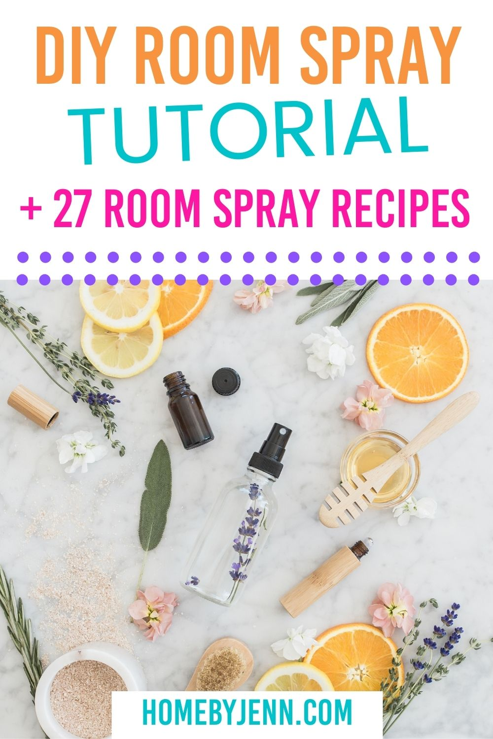 diy room spray on a counter with lemons and oranges and lavender via @homebyjenn