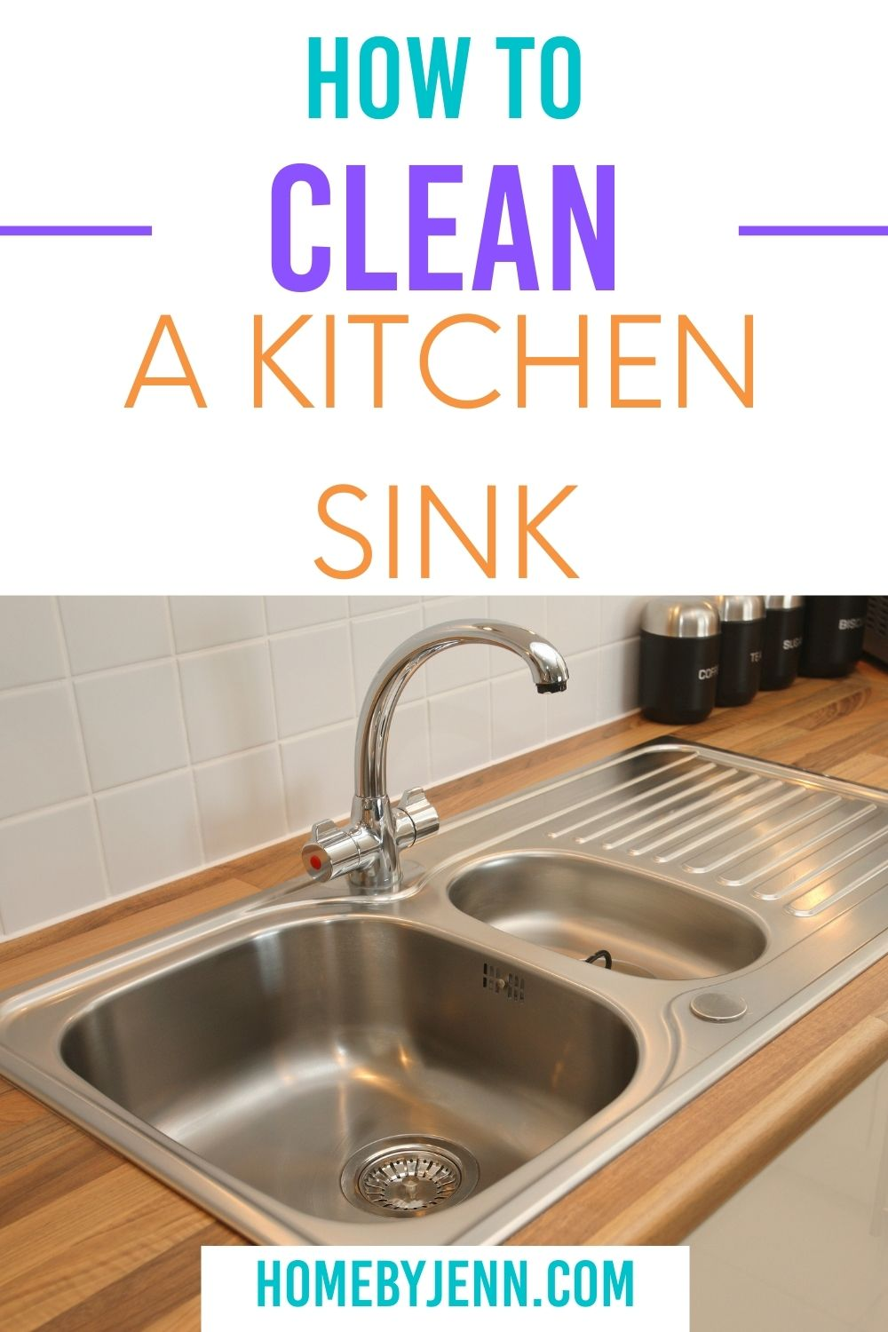 Cleaning a sink seems simple enough, right? If you've got a stained kitchen sink then you'll love this post. Learn how to clean a kitchen sink. These steps will be the same for cleaning any sink and removing stains from sinks. via @homebyjenn