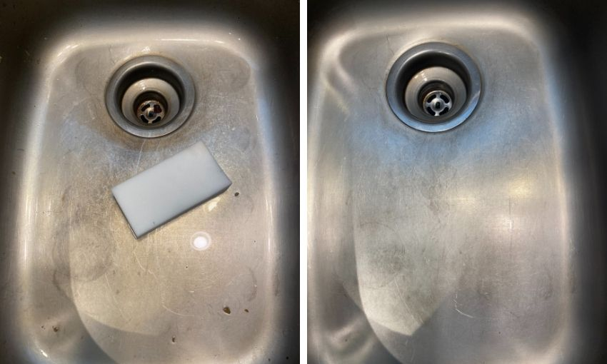 cleaning a sink before and after