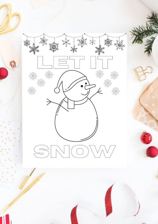 coloring page with a snowman