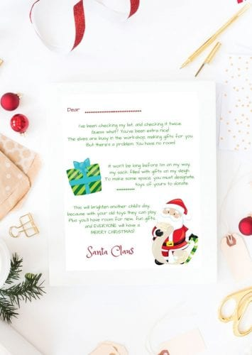 Santa Toy Donation Letter Printable