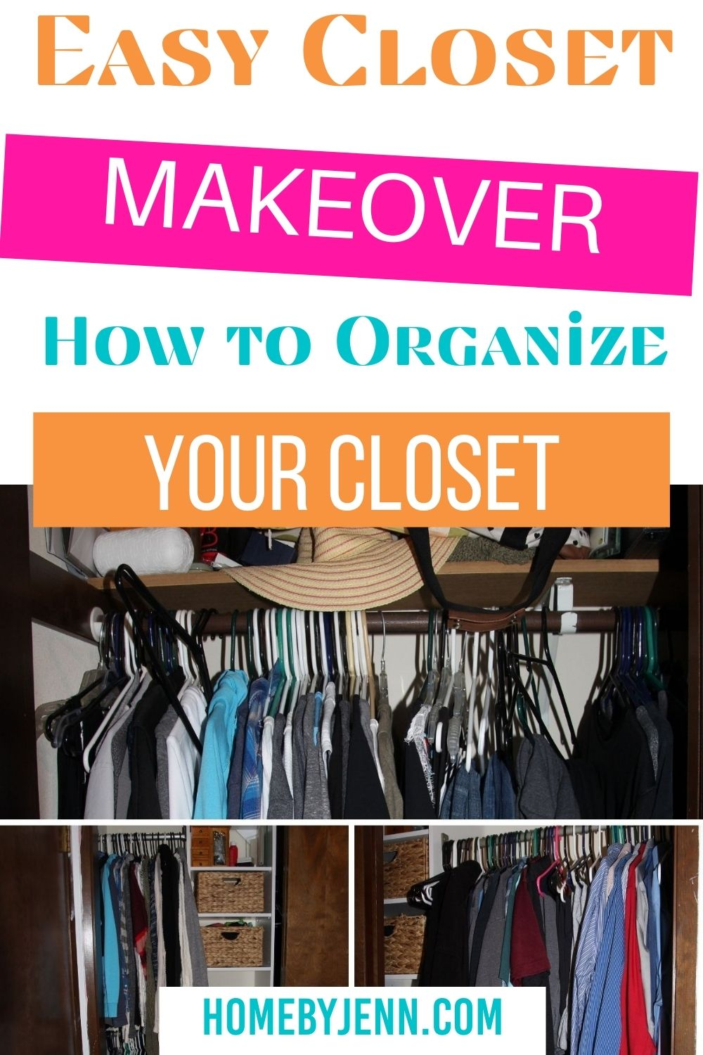 Making over your closet will help you keep your closet organized. Learn how to organize your closet by following these simple steps. If you're looking from going to a 1 rod closet to using a closet organizer you'll love this transformation. via @homebyjenn