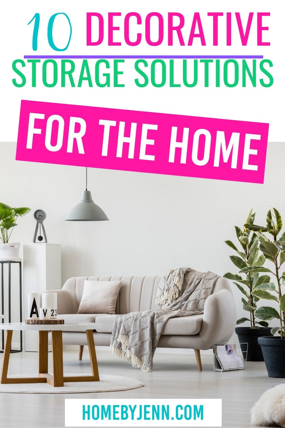 Add extra storage to your home with some decorative storage solutions. When organizing your home improve your decor by adding in some storage ideas that match your home decor. via @homebyjenn