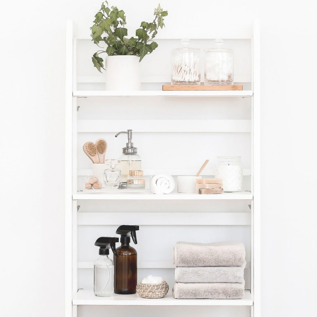 shelf with decorative storage solutions