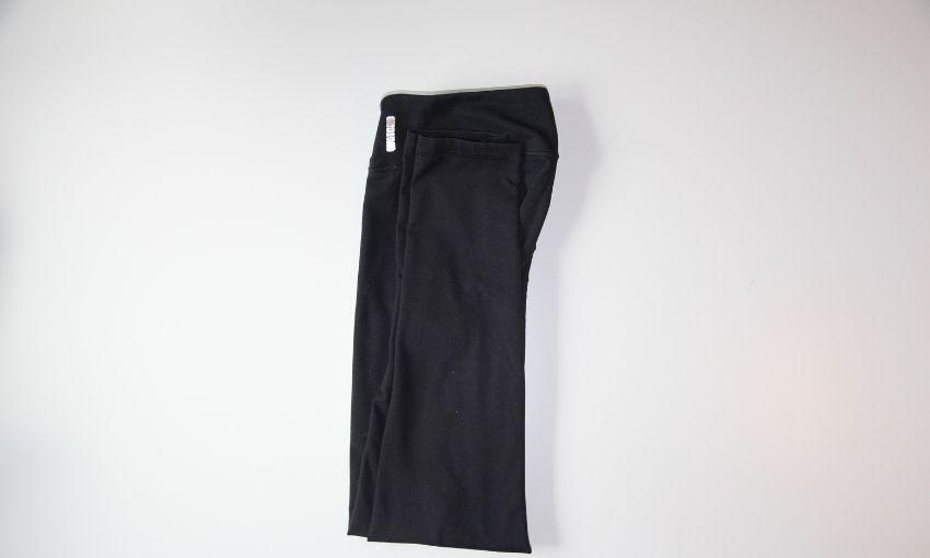 legs meet the waist folded in half