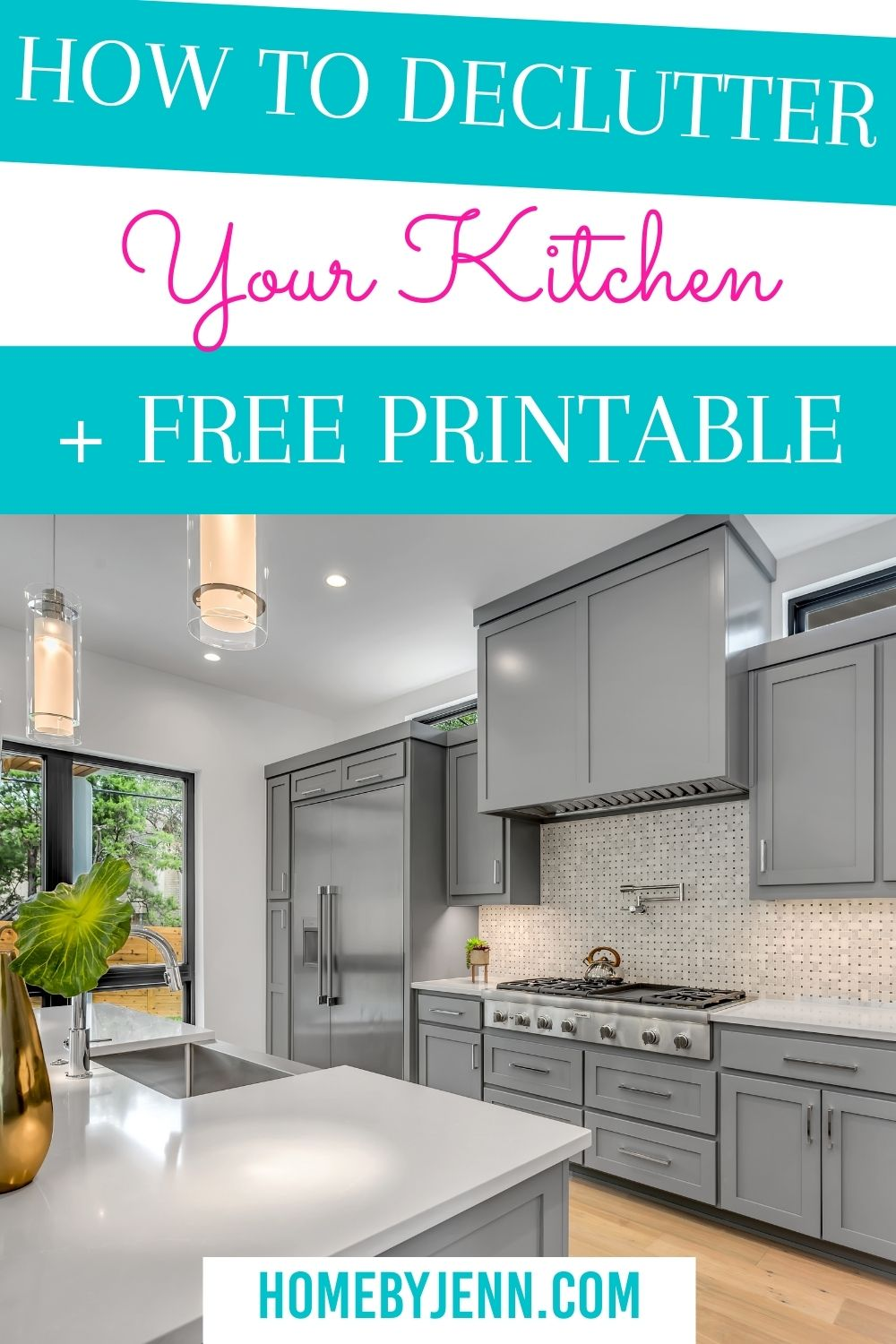 Decluttering the kitchen is an overwhelming job. Today you'll learn how to declutter the kitchen. To make this daunting task a little easier I've put together a checklist to help you declutter your kitchen. via @homebyjenn
