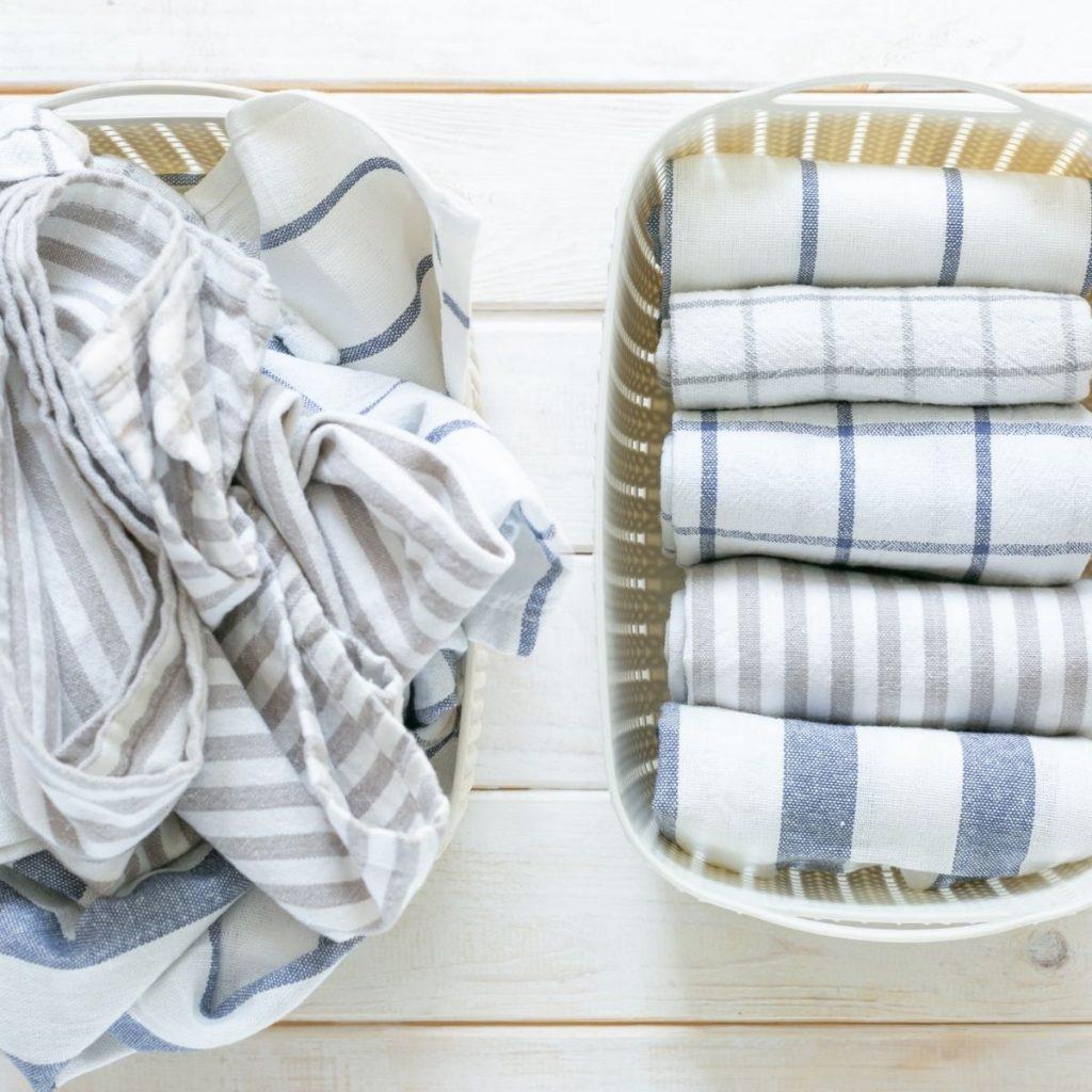towels folded using the konmari method of folding