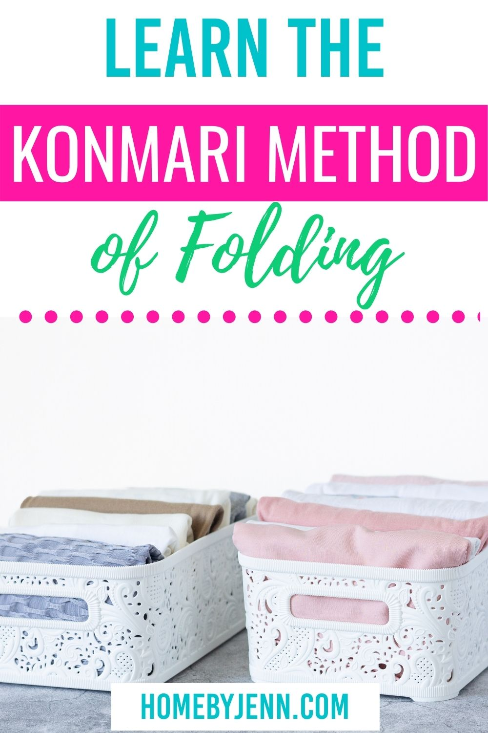 Save space in your drawers and closet when you learn the Konmari method of folding. I'm going to walk you through the Konmari folding method. It's easy to do and you'll love how much space you save when you fold your clothes using Marie Kondo's method. via @homebyjenn
