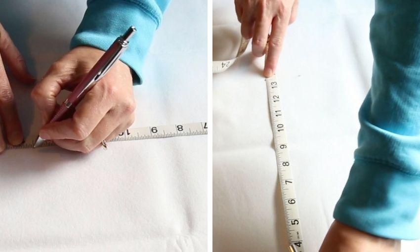 measuring the felt for the diy pom pom tree skirt