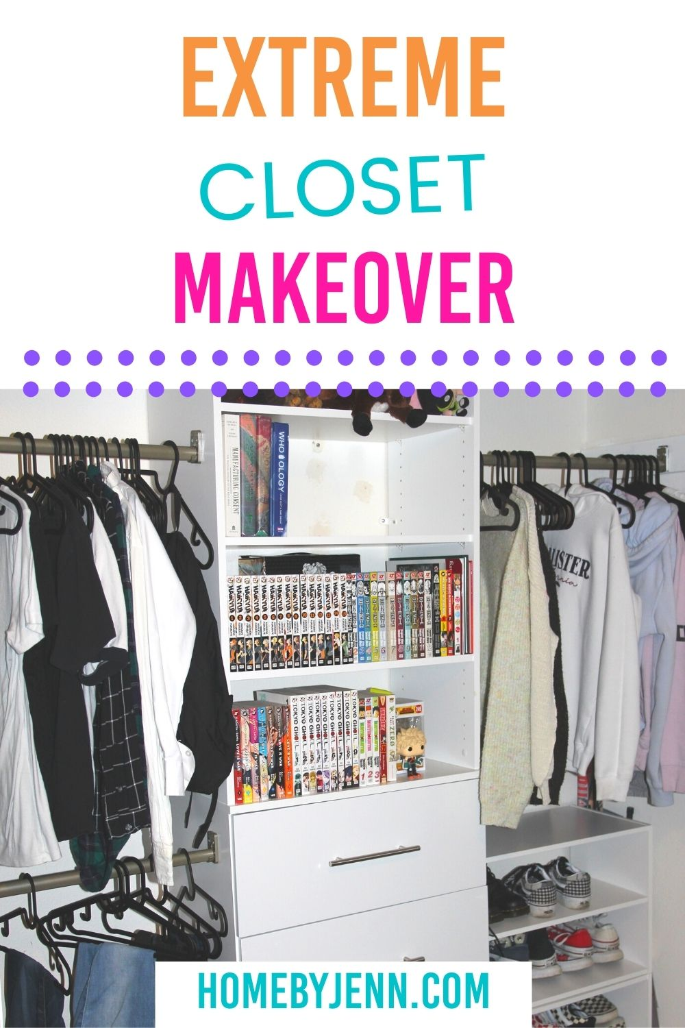 If you're looking to update your unfunctional reach-in closet you'll love this Closet Makeover. I took an outdated reach-in closet and transformed the space into a dreamy organized closet. I increased storage space and made this closet look up to date. via @homebyjenn