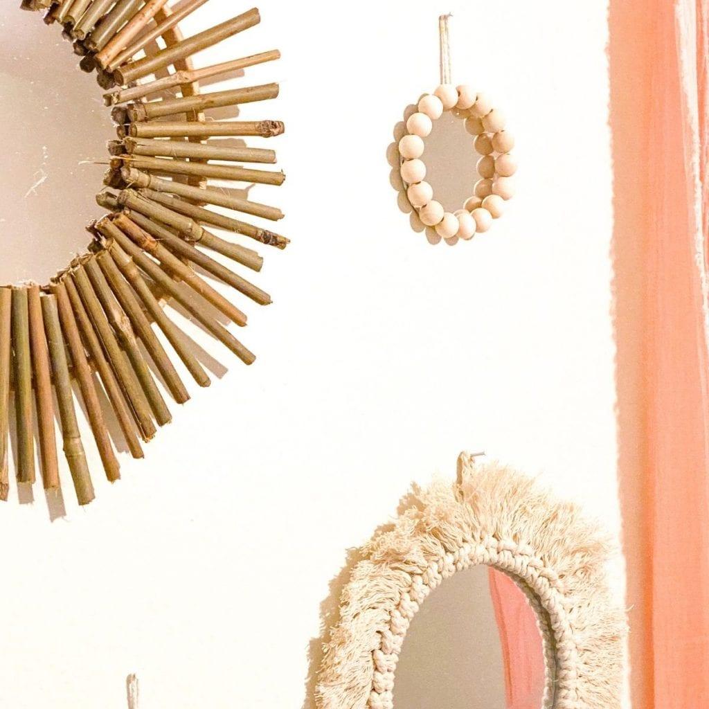 small bead wall mirror