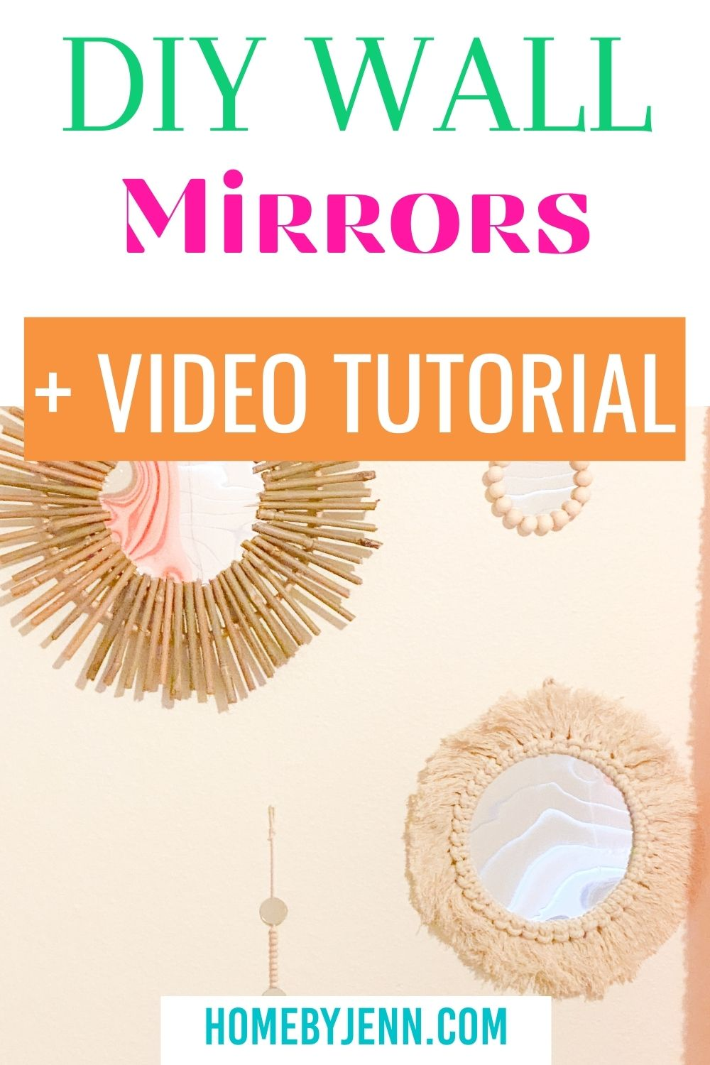 Add some décor to any room with these simple to make DIY wall mirrors. These Anthropologie dupes DIY Wall Mirror Frames are easy to make and you'll save yourself a lot of money in the process. All you need are a few mirrors and a few common craft supplies to make these. via @homebyjenn