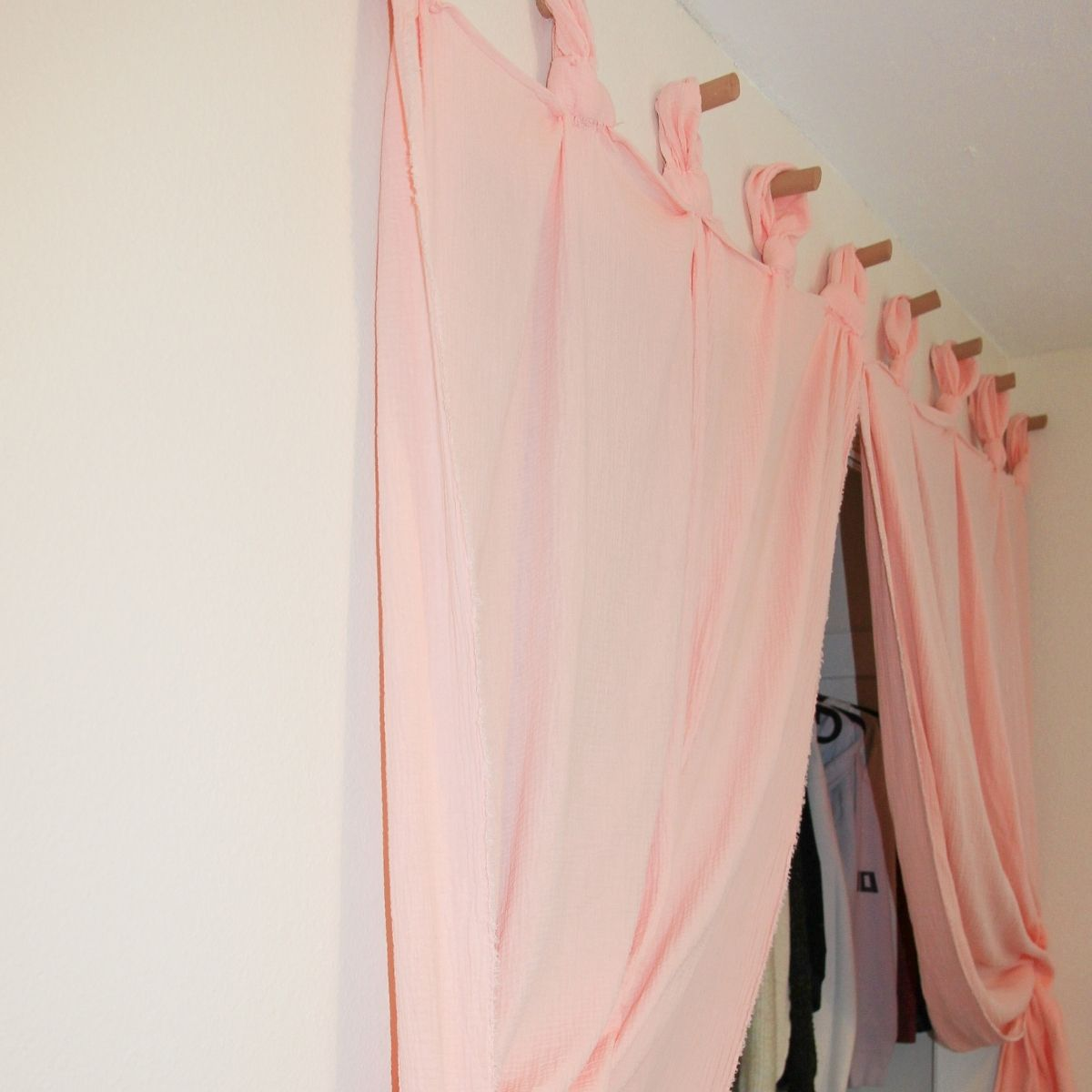 anthropologie inspired curtains hanging on dowel rods