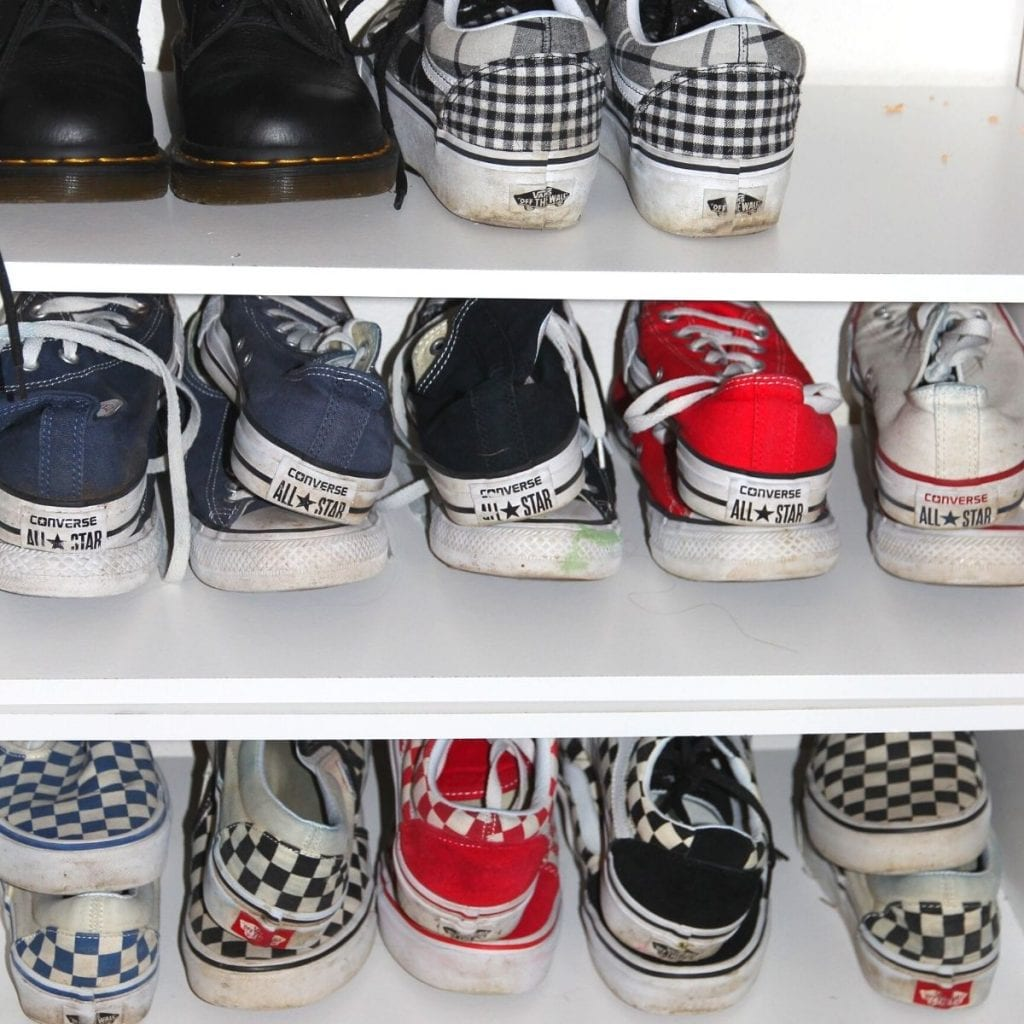shoes in an organizer