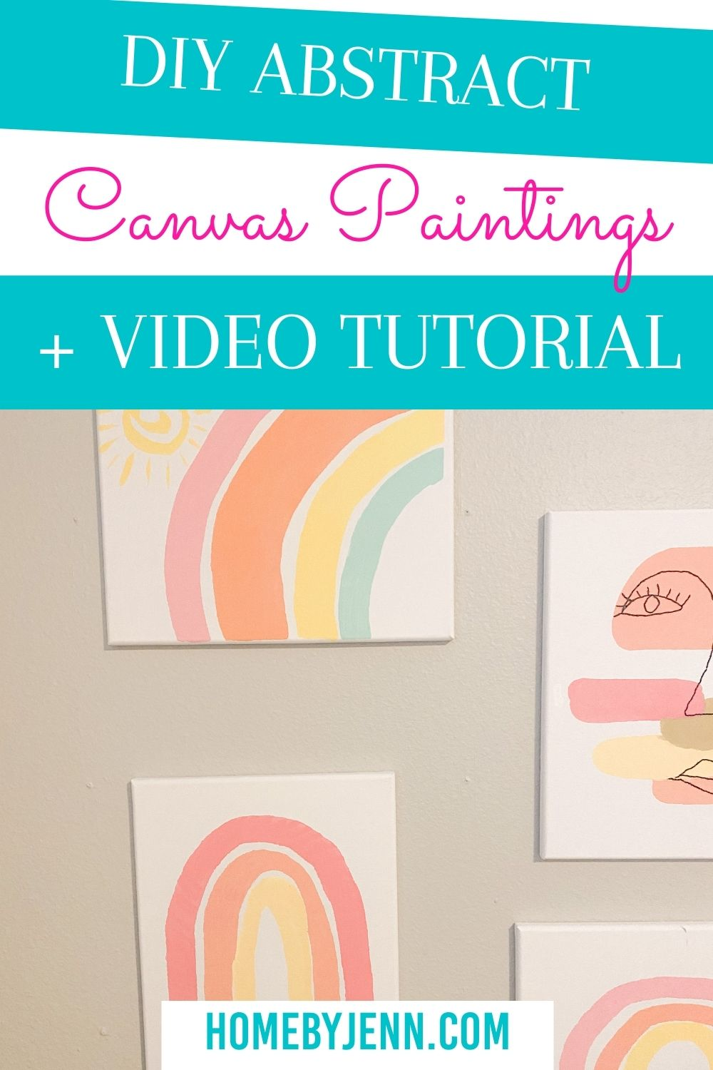 Create your own DIY Abstract Canvas Painting. You'll save yourself so much money by painting your own abstract art canvases. These boho inspired abstract canvases are easy to make and budget-friendly. via @homebyjenn