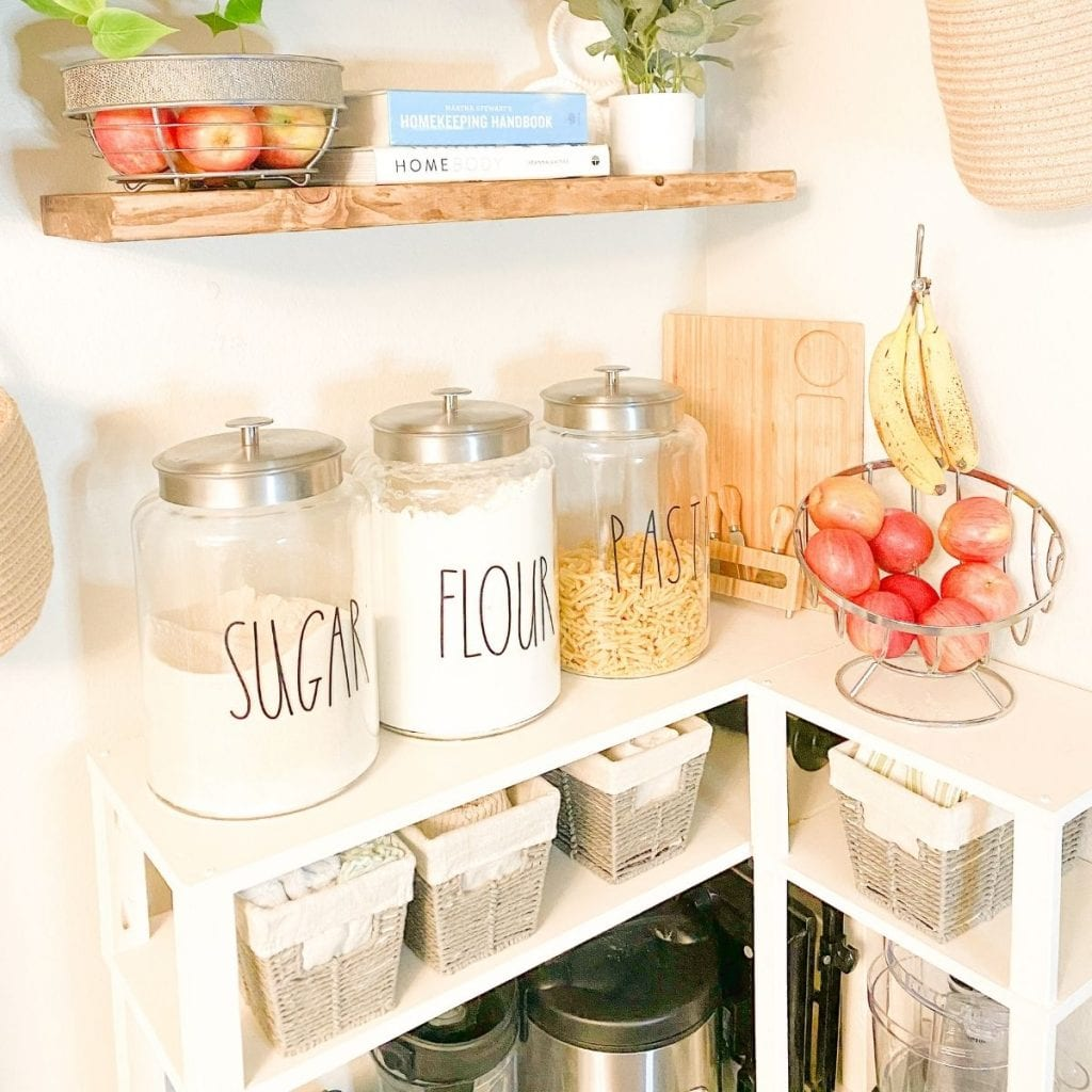 DIY Pantry Shelves filled with pantry items