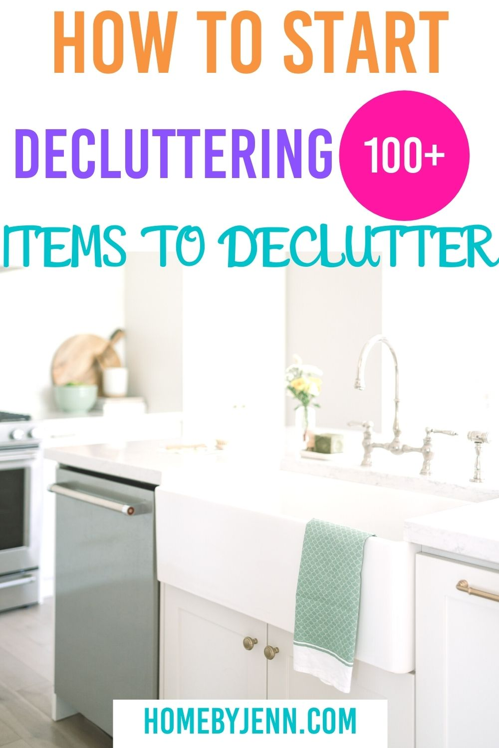 If you're ready to learn how to declutter your home you're in the right place. I'm showing you how to start decluttering with a list of more than 100 items to declutter. via @homebyjenn