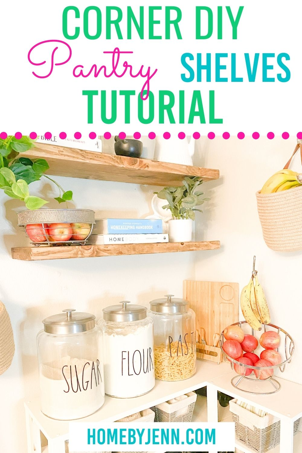 These DIY Pantry Shelves are just what I needed to add more storage to our kitchen. Learn how I made these DIY Pantry Shelves with a few pieces of wood. This is a simple beginner DIY project anyone can do. via @homebyjenn