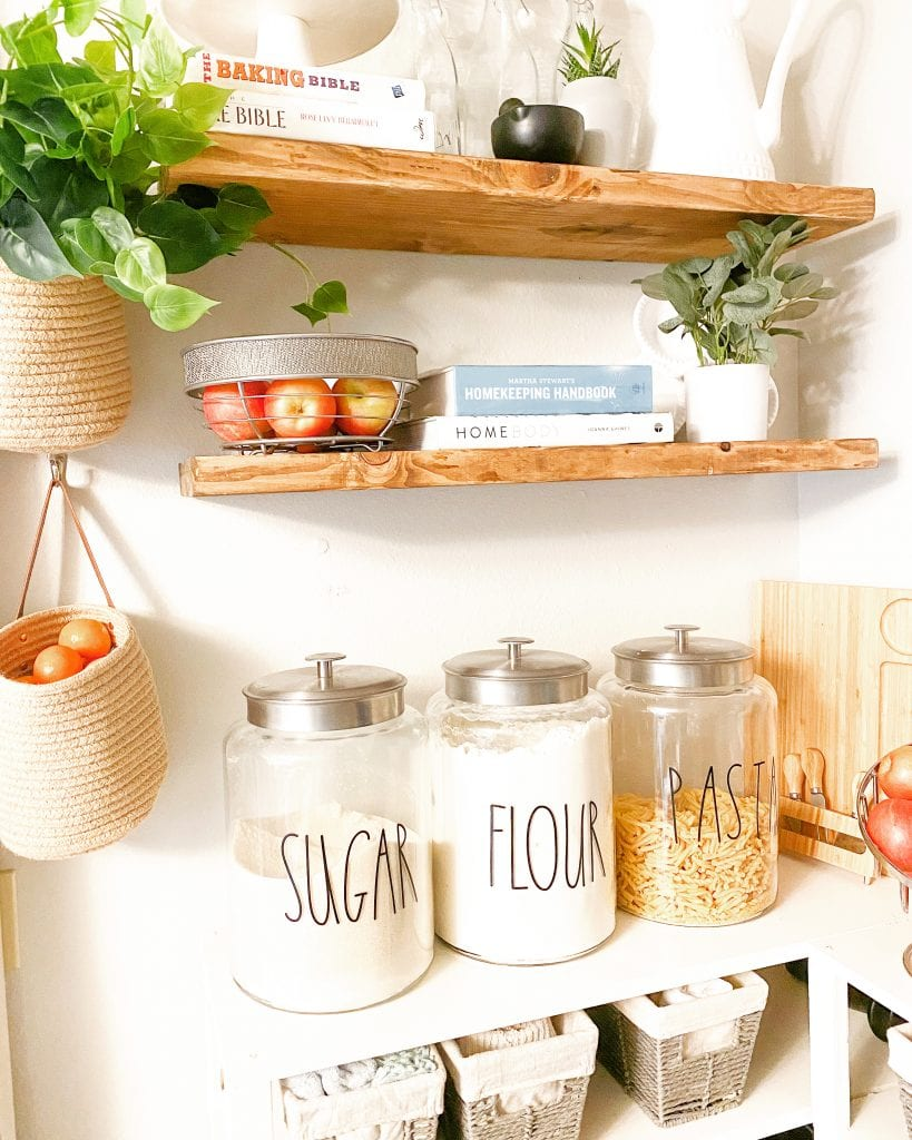 pantry shelves and floating shelves