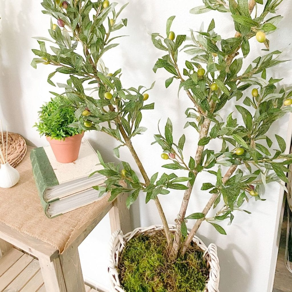 faux indoor tree in a basket