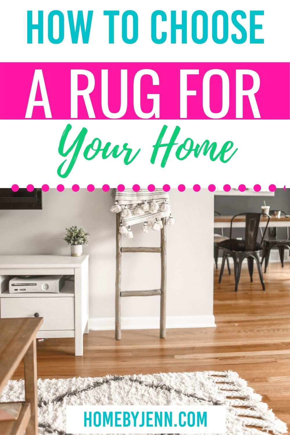 Choosing a rug for any room of your home can be quite overwhelming. I'm going to show you how to choose a rug. I'm going to cover questions like what size, color, and style of rug to make any room in your home complete. via @homebyjenn