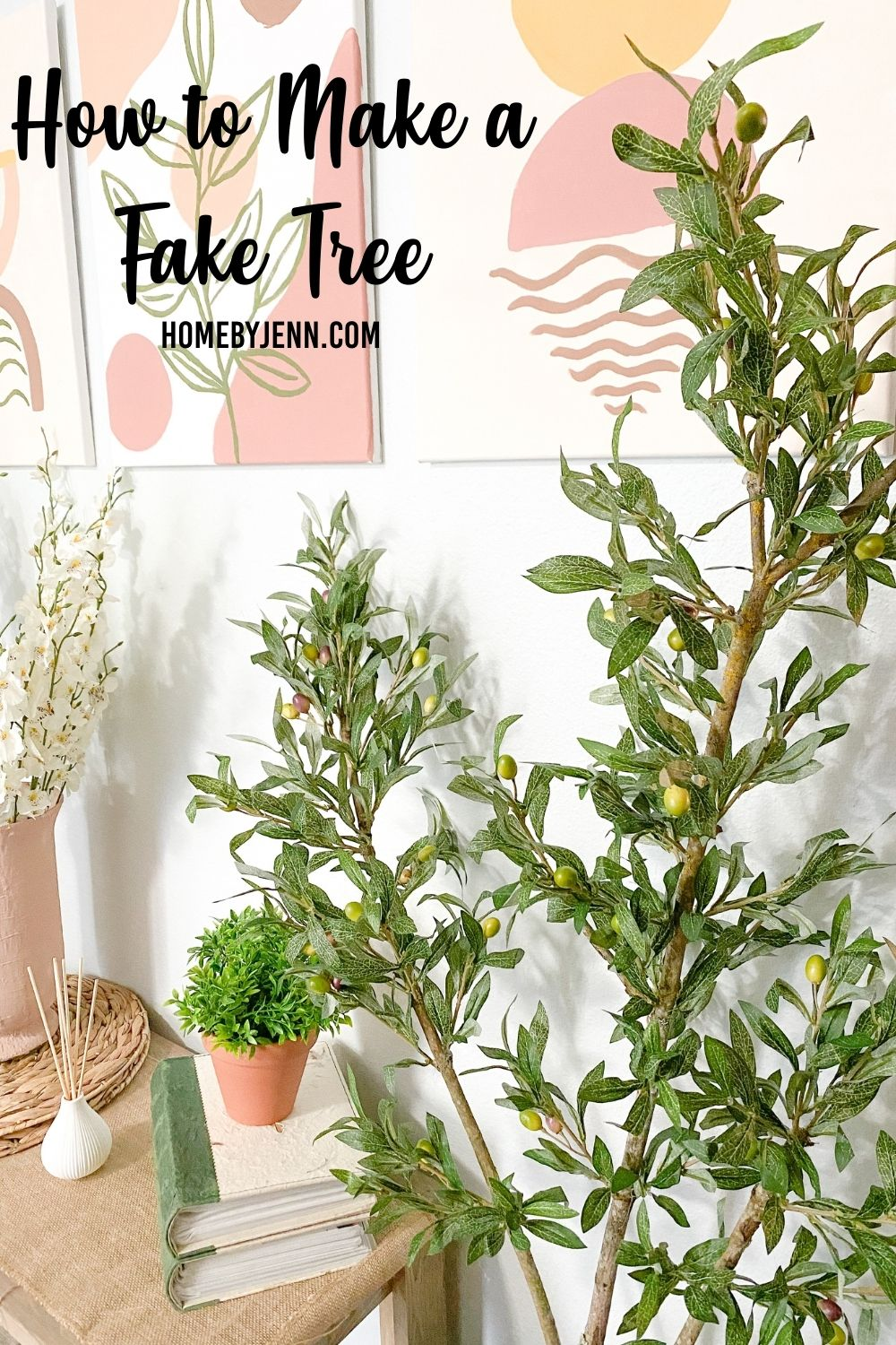 Learn how to make a fake tree in this tutorial. Fake and real indoor trees can be very expensive. Save money and get the tree you want by making your own. You'll need a handful of supplies and a bit of time to make this budget-friendly fake tree for indoors. via @homebyjenn