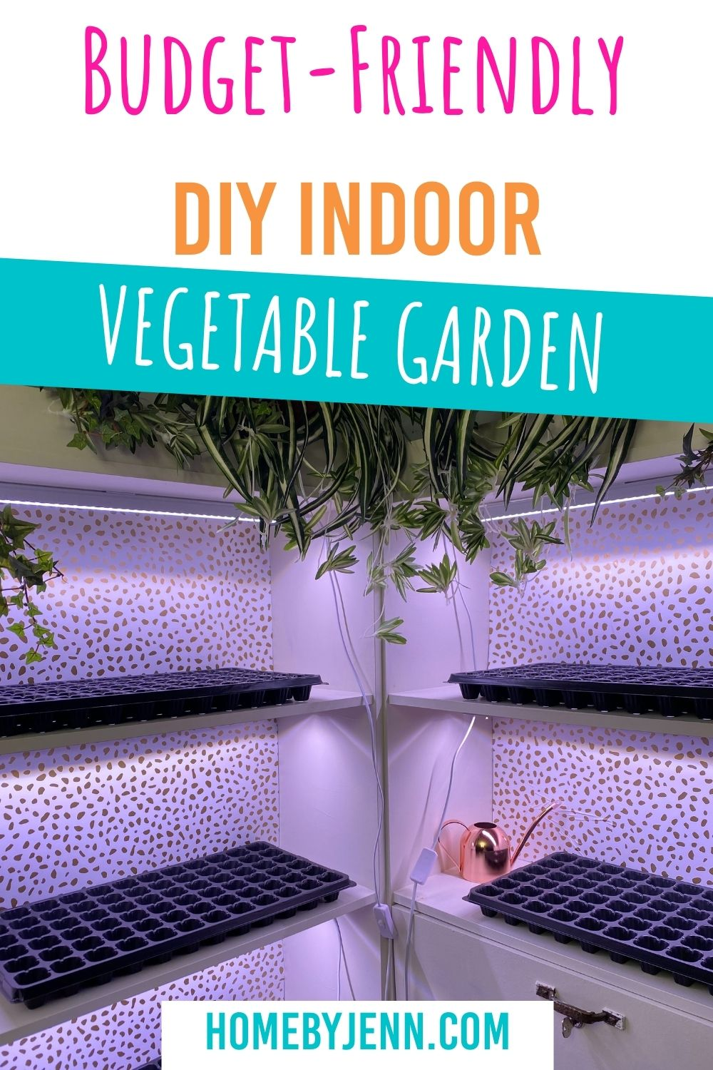 If you want to extend your growing season or start seeds indoors you need an indoor vegetable garden. Learn how simple it is to make your own indoor garden with a few supplies. You'll have your own budget-friendly indoor vegetable growing system in no time. via @homebyjenn