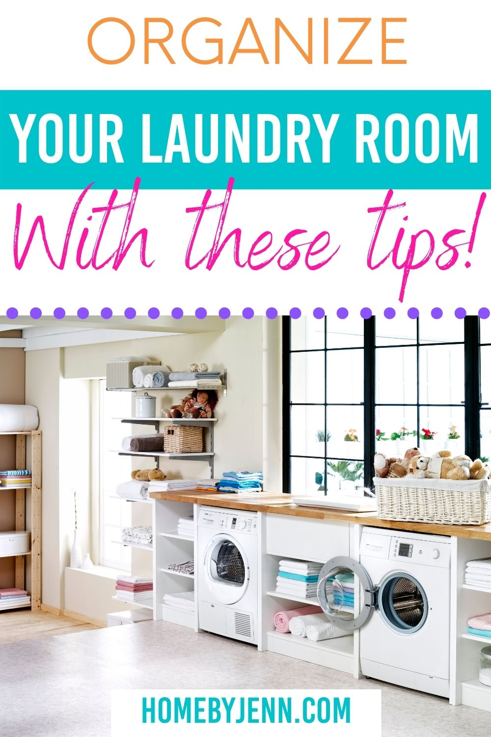 Are you ready to organize your laundry room? Is your laundry room a mess? Do you hate doing laundry because you hate going into that room? Why not take the time to make your laundry room into a space you love? Let's start by organizing your laundry room with these amazing storage essentials. via @homebyjenn