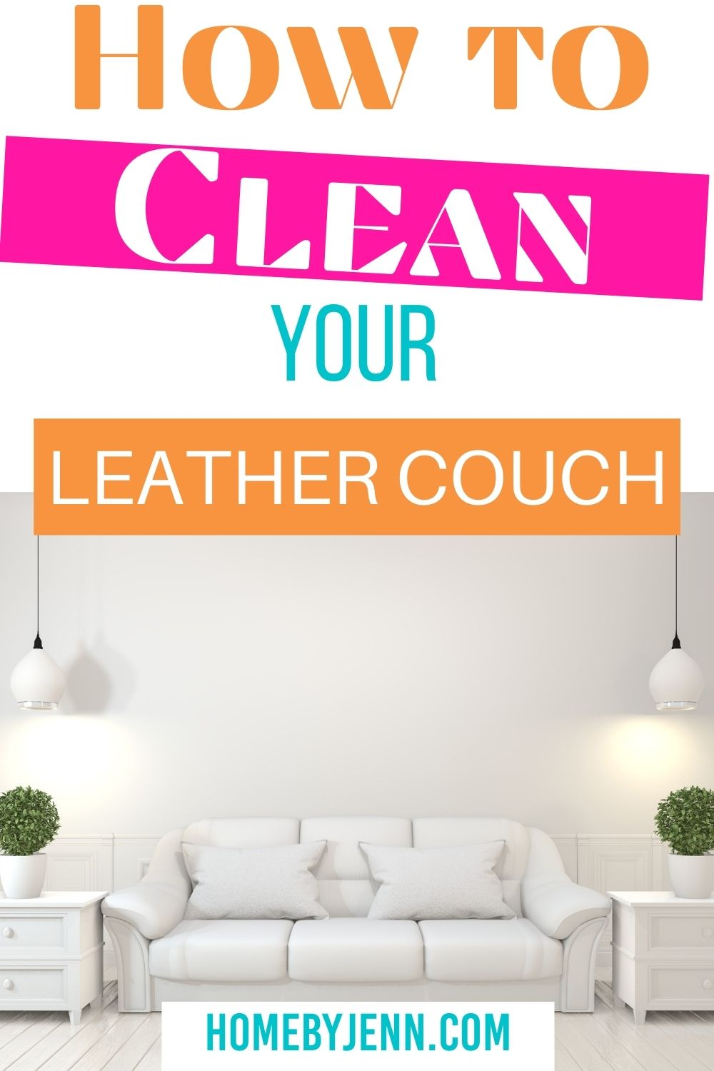 Keep your leather furniture looking clean and new by keeping it clean. Learn how to clean your leather couch with simple supplies you probably have on hand. This tutorial will show you the exact steps to take to clean your leather sofa or any leather you have. via @homebyjenn