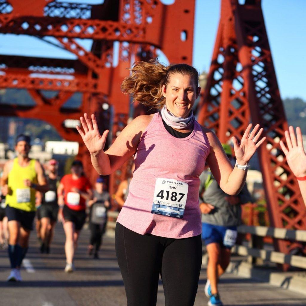 Jenn running in the Portland marathon
