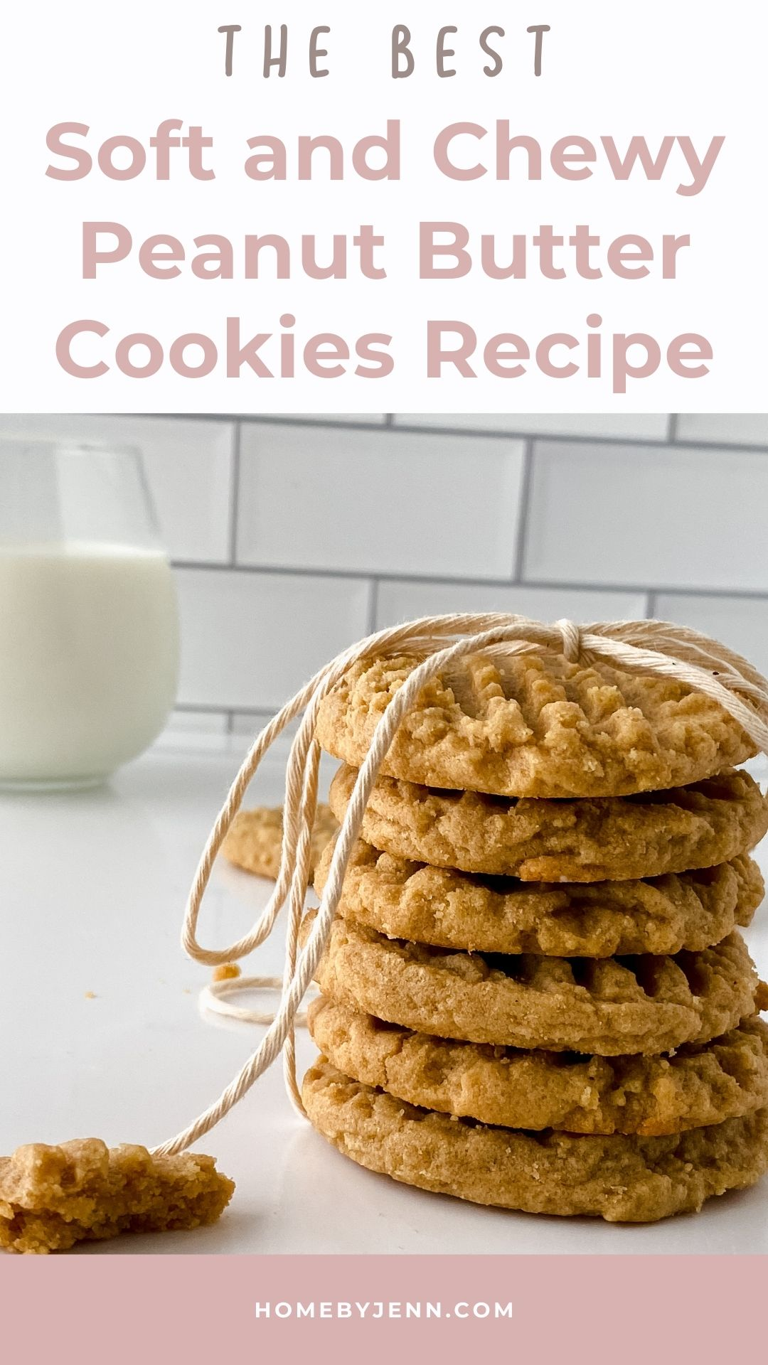 If you love peanut butter cookies and soft and chewy cookies you are going to love this recipe for soft peanut butter cookies. This peanut butter cookies recipe makes the best soft and chewy peanut butter cookies you'll ever eat. Enjoy after dinner or as an after-school snack. via @homebyjenn